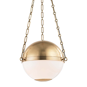 Sphere No.2 Gold and White Two-Light Pendant