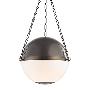 Sphere No.2 Bronze and White Three-Light Chandelier
