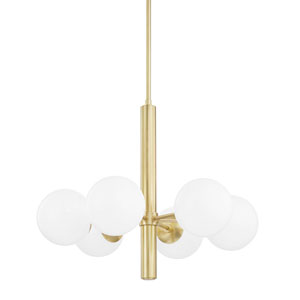 Stella Aged Brass Six-Light Chandelier with Opal Shiny Glass