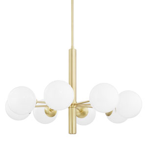 Stella Aged Brass Eight-Light Chandelier with Opal Shiny Glass