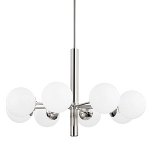 Stella Polished Nickel Eight-Light Chandelier with Opal Shiny Glass