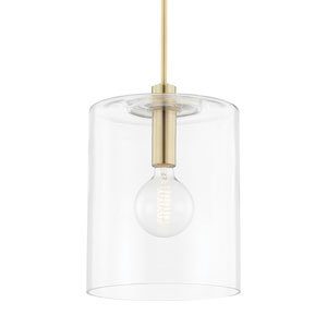 Neko Aged Brass One-Light Large Pendant with Clear Glass