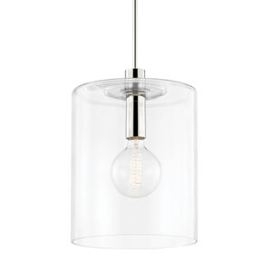 Neko Polished Nickel One-Light Large Pendant with Clear Glass