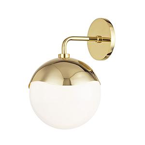 Ella Polished Brass 1-Light 7.5-Inch Wall Sconce