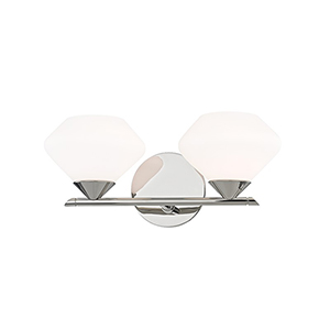 Valerie Polished Nickel 2-Light 14-Inch Bath Vanity