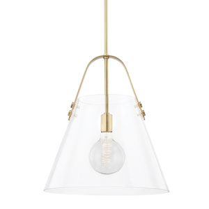 Karin Aged Brass One-Light Extra Large Pendant with Clear Glass