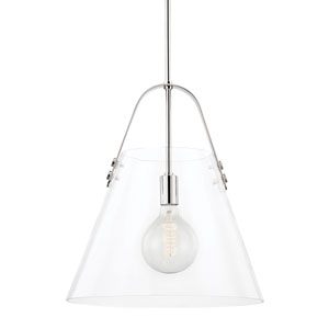 Karin Polished Nickel One-Light Extra Large Pendant with Clear Glass