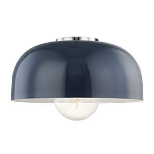 Avery Polished Nickel 1-Light 14-Inch Flush Mount