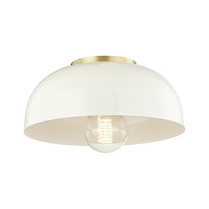 Avery Aged Brass 1-Light 11-Inch Flush Mount