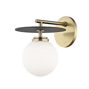 Ellis Aged Brass Black LED 7-Inch Wall Sconce