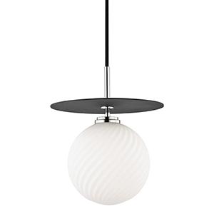 Ellis Polished Nickel Black LED 10-Inch Pendant