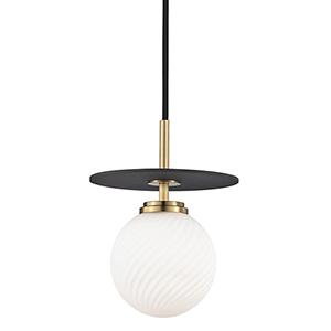 Ellis Aged Brass Black LED 7-Inch Mini Pendant