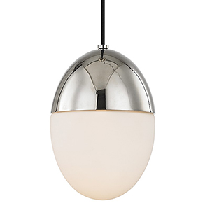 Orion Polished Nickel 1-Light 10-Inch Pendant