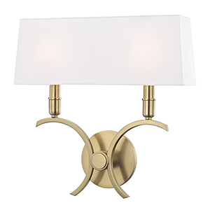 Gwen Aged Brass 2-Light 14.5-Inch Wall Sconce