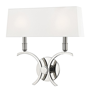 Gwen Polished Nickel 2-Light 14.5-Inch Wall Sconce
