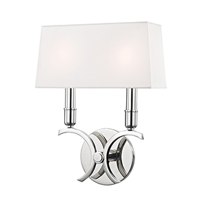 Gwen Polished Nickel 2-Light 10-Inch Wall Sconce