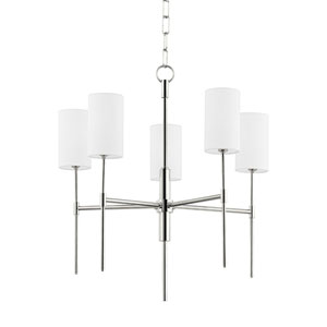 Olivia Polished Nickel Five-Light Chandelier with Linen Shade