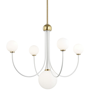 Coco Aged Brass White 5-Light 30-Inch Chandelier