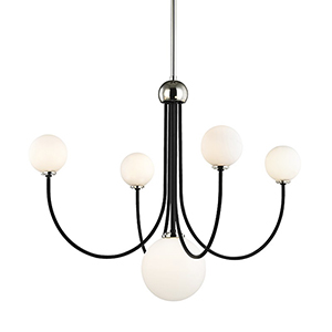 Coco Polished Nickel Black 5-Light 30-Inch Chandelier