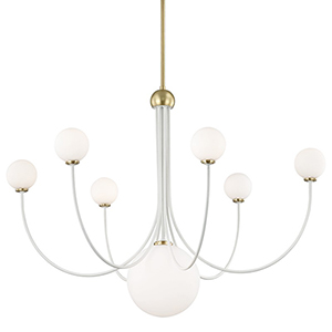 Coco Aged Brass White 7-Light 40-Inch Chandelier