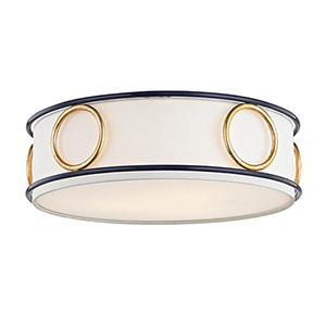 Jade Gold Leaf Navy 3-Light 16-Inch Flush Mount