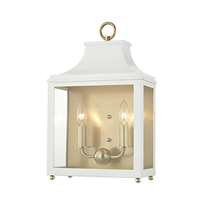 Leigh Aged Brass White 2-Light 11.5-Inch Wall Sconce