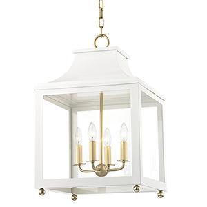 Leigh Aged Brass White 4-Light 16-Inch Pendant