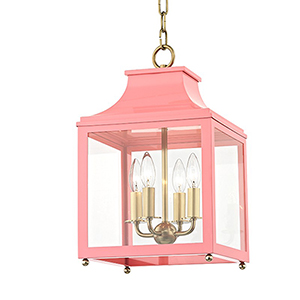 Leigh Aged Brass Pink 4-Light 11.5-Inch Pendant