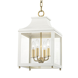 Leigh Aged Brass White 4-Light 11.5-Inch Pendant
