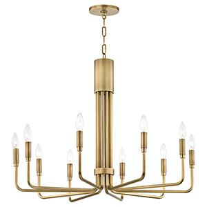 Brigitte Aged Brass 10-Light 32-Inch Chandelier