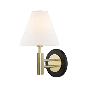 Robbie Aged Brass Black 1-Light 7.5-Inch Wall Sconce