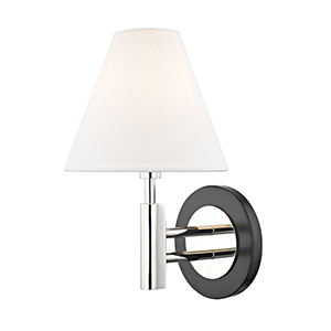 Robbie Polished Nickel Black 1-Light 7.5-Inch Wall Sconce