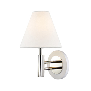Robbie Polished Nickel White 1-Light 7.5-Inch Wall Sconce
