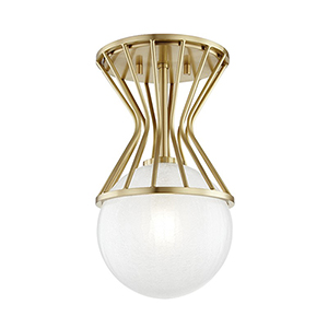 Petra Aged Brass 1-Light Eight-Inch Semi Flush