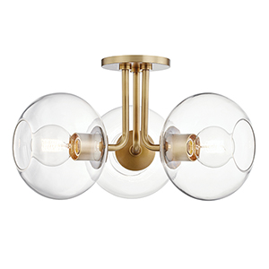 Margot Aged Brass Three-Light Semi Flush