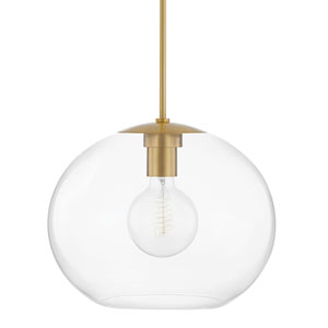 Margot Aged Brass One-Light Extra Large Pendant with Clear Glass