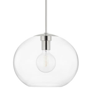 Margot Polished Nickel One-Light Extra Large Pendant with Clear Glass