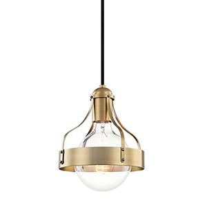 Violet Aged Brass 7-Inch One-Light Pendant