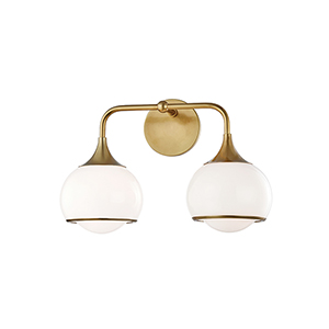Reese Aged Brass Two-Light Wall Sconce