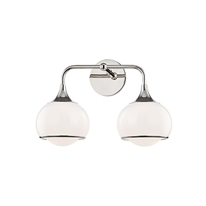 Reese Polished Nickel Two-Light Bathroom Vanity Light