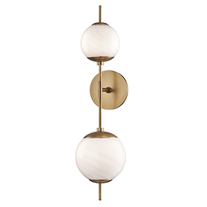 Remi Aged Brass Two-Light Wall Sconce
