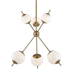 Remi Aged Brass Six-Light Chandelier
