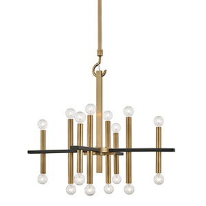 Colette Aged Brass and Black 16-Light Chandelier