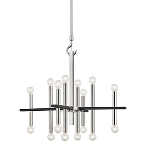 Colette Polished Nickel and Black 16-Light Chandelier