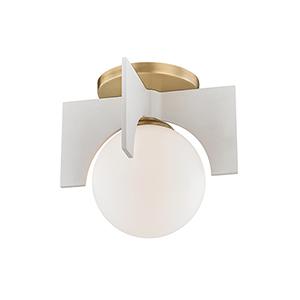Nadia Aged Brass and White One-Light Flush Mount