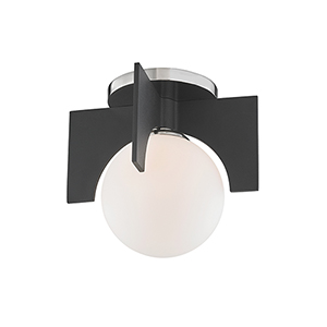 Nadia Polished Nickel and Black One-Light Flush Mount