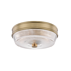 Lacey Aged Brass Two-Light Flush Mount