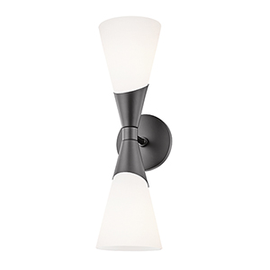 Parker Glossy Black Two-Light Wall Sconce