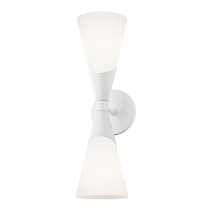 Parker Glossy White Two-Light Wall Sconce