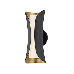 Josie Gold Leaf and Black Two-Light Wall Sconce